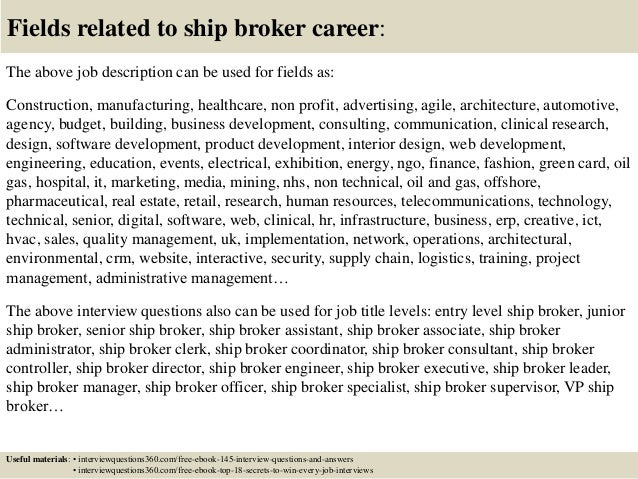 Top 10 ship broker interview questions and answers