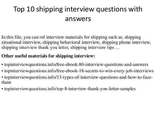 Top 10 shipping interview questions with answers