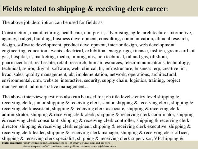Top 10 shipping receiving clerk interview questions and answers – Receiving Manager Job Description