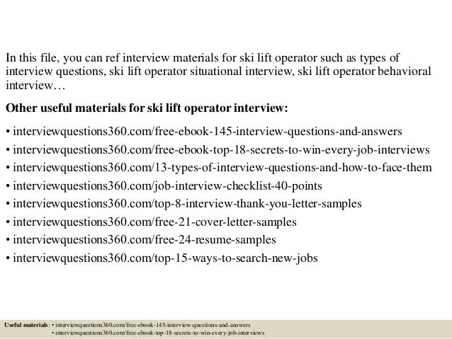 Top 10 ski lift operator interview questions and answers