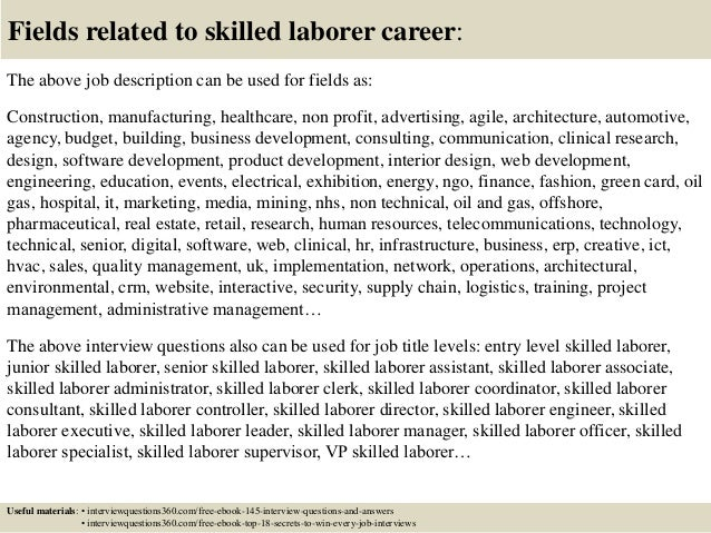 Top 10 skilled laborer interview questions and answers – Laborer Job Description