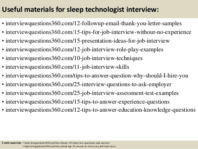 Top 10 sleep technologist interview questions and answers