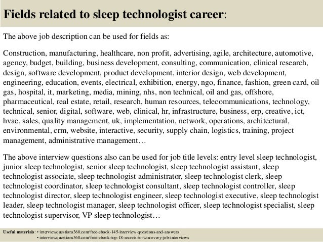 ... 18. Fields Related To Sleep Technologist ...