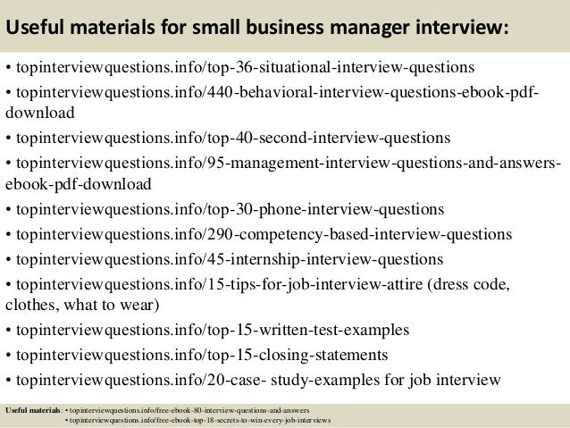 small business interview questions