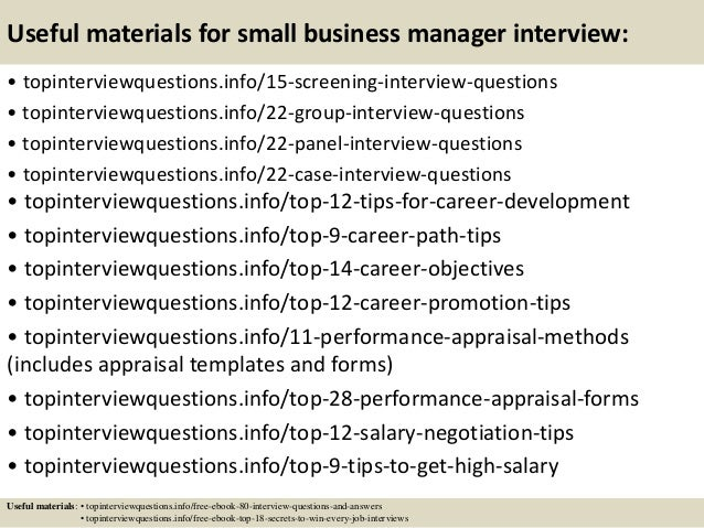 top 10 small business manager interview questions and answers