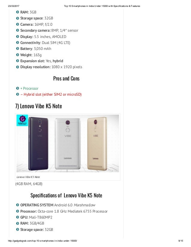 Top 10 smartphones in india under 15000 with specifications