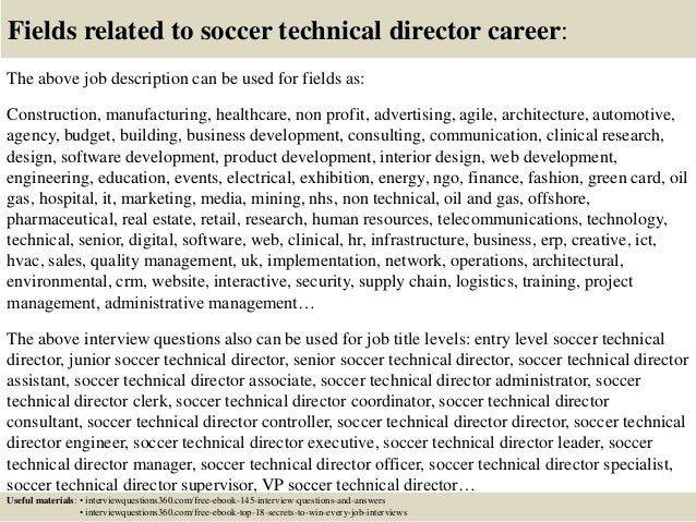 Lovely ... 18. Fields Related To Soccer Technical Director Career: The Above Job  Description ...