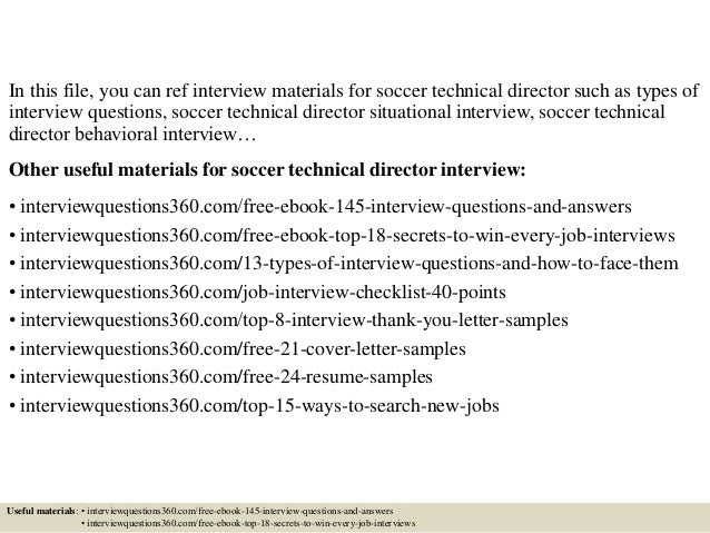 top 10 soccer technical director interview questions and
