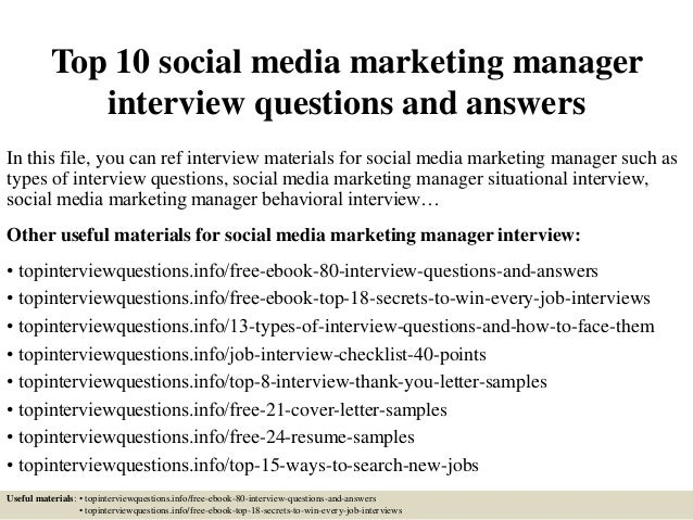 Top 10 Social Media Marketing Manager Interview Questions