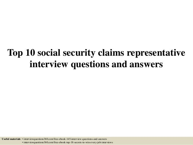 Top 10 social security claims representative interview