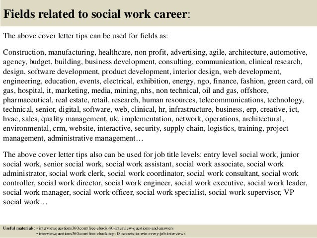 ... 16. Fields Related To Social Work Career: The Above Cover Letter ...  Cover Letter For Social Work