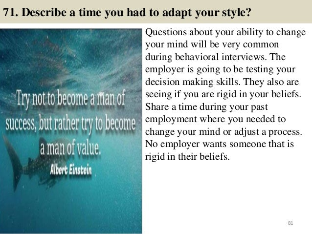 Charming 80; 81. 71. Describe A Time You Had To Adapt Your Style? Questions ...