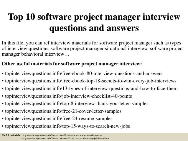 Top 10 software project manager interview questions and answers In this file, you can ref interview materials for software...