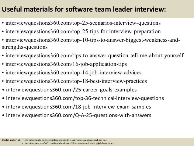team leader questions