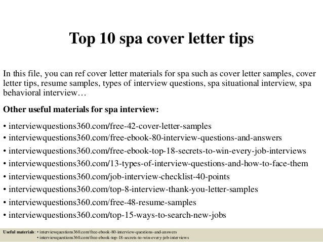 top 10 spa cover letter tips in this file you can ref cover letter materials - Spa Manager Cover Letter