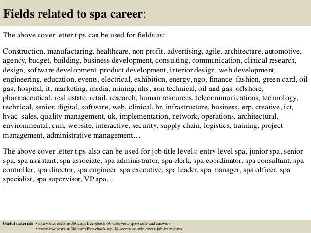 16 fields related to spa career the above cover letter - Spa Manager Cover Letter
