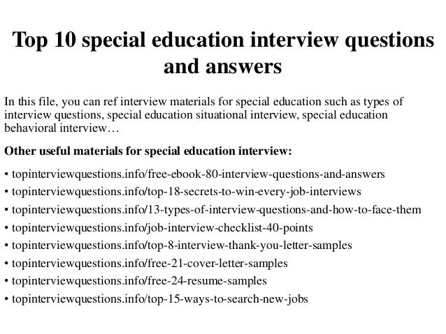 special ed interview questions