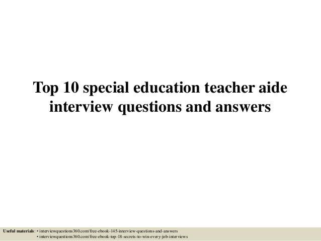 special education teacher assistant interview questions