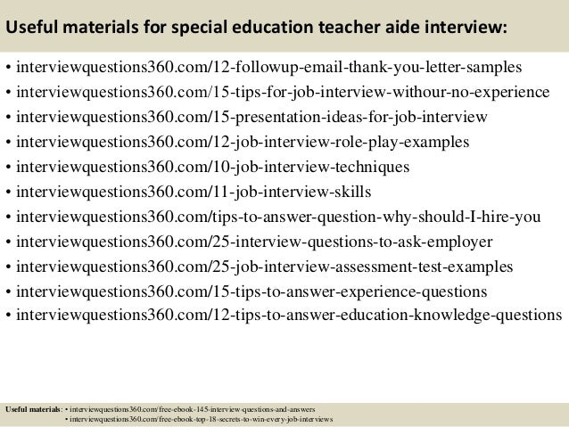 top 10 special education teacher aide interview questions