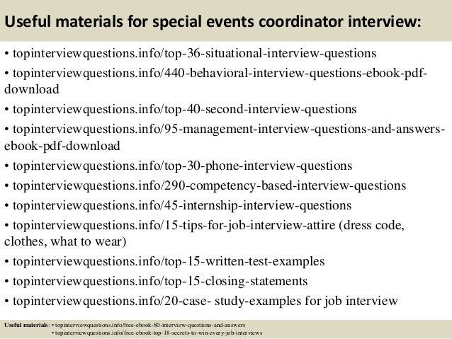 12 useful materials for special events coordinator interview - Event Coordinator Interview Questions And Answers