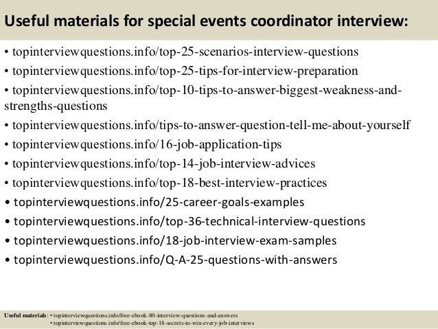 13 useful materials for special events coordinator interview - Event Coordinator Interview Questions And Answers