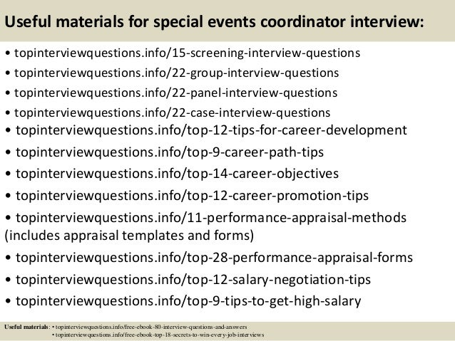 15 useful materials for special events coordinator interview - Event Coordinator Interview Questions And Answers
