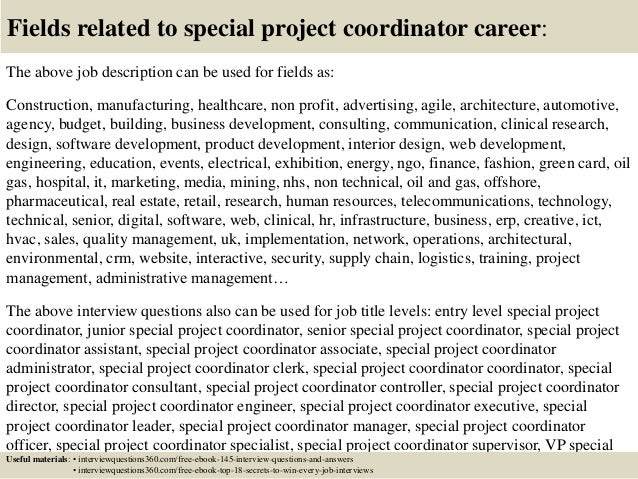 Top 10 special project coordinator interview questions and answers