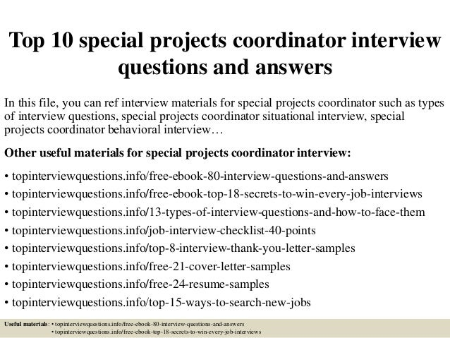project coordinator interview questions and answers