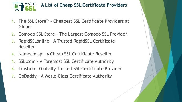 The World\'s Top 7 Cheap SSL Certificate Providers 2018