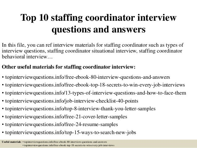 staffing coordinator job description