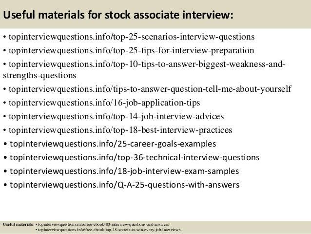 Top 10 stock associate interview questions and answers – Stock Associate Job Description