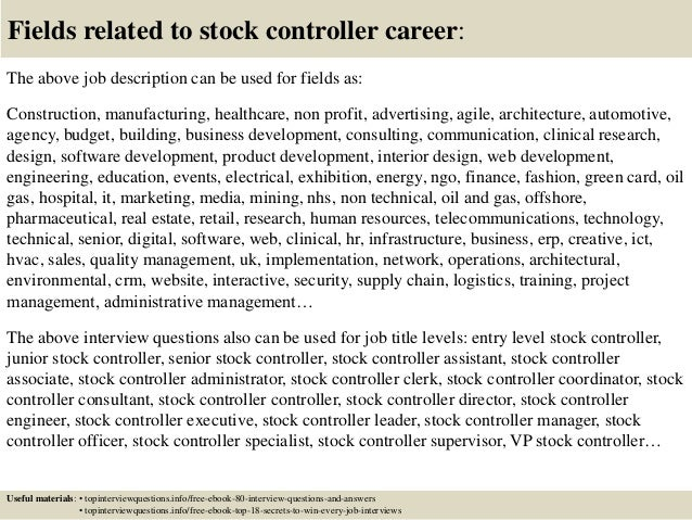 Good ... 17. Fields Related To Stock Controller Career: The Above Job Description  ... Great Ideas