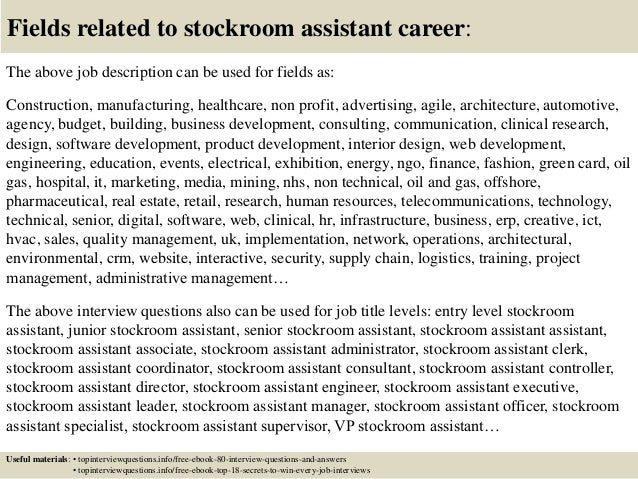 Top 10 stockroom assistant interview questions and answers