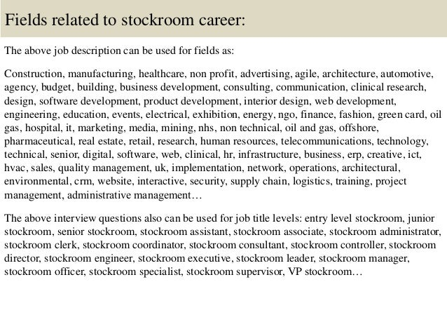Top 10 stockroom interview questions and answers – Stockroom Job Description
