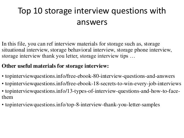 Top 10 Storage Interview Questions With Answers