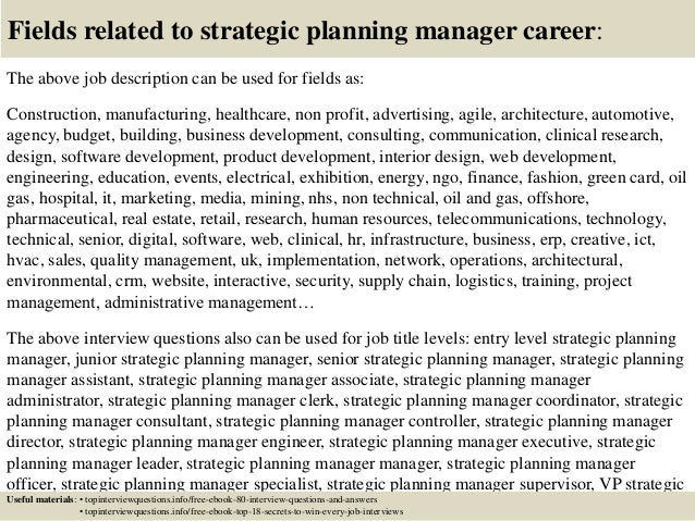 top 10 strategic planning manager interview questions and