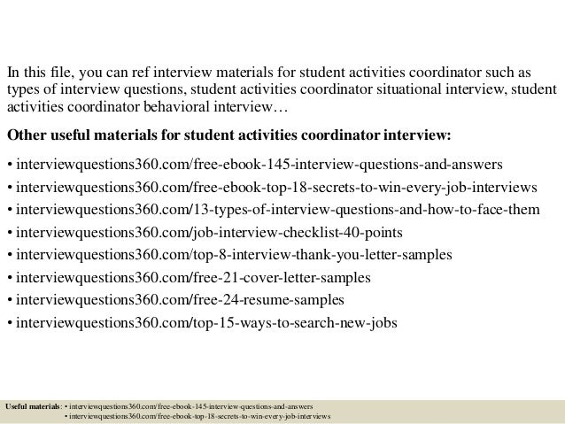 top 10 student activities coordinator interview questions and answers pdf ebook free download