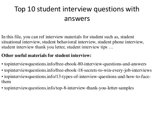 student interview questions