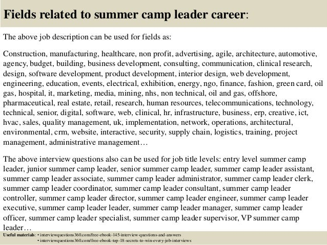 Top 10 summer camp leader interview questions and answers
