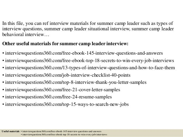 top 10 summer camp leader interview questions and answers - Cover Letter For Summer Camp