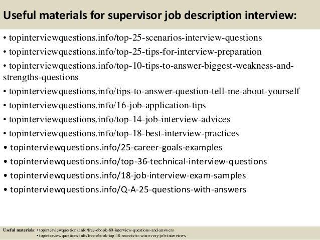 Top 10 supervisor job description interview questions and ...