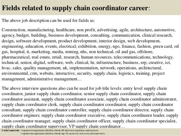 top 10 supply chain coordinator interview questions and