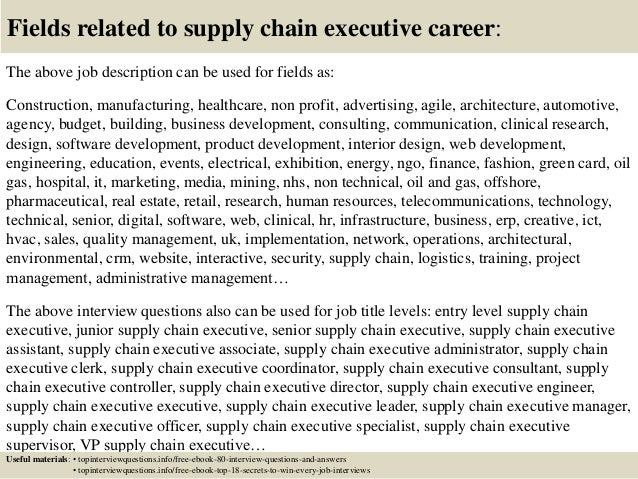 Top 10 supply chain executive interview questions and answers – Supply Chain Management Job Description