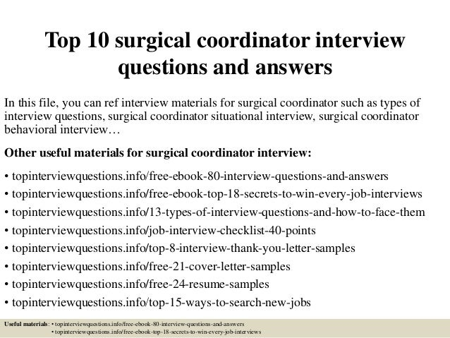 top 10 surgical coordinator interview questions and answers