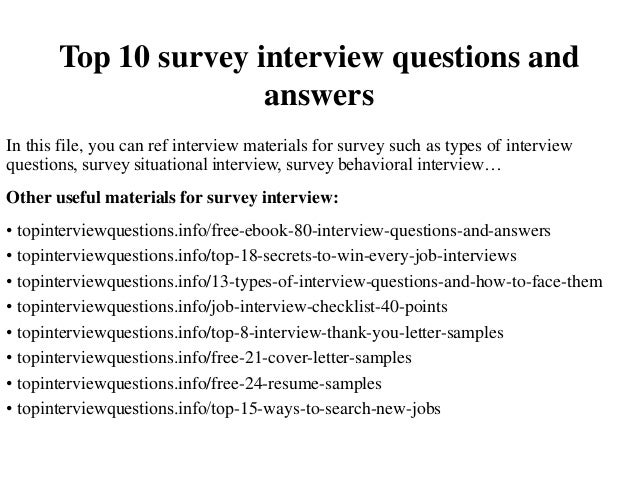 top 10 survey interview questions and answers