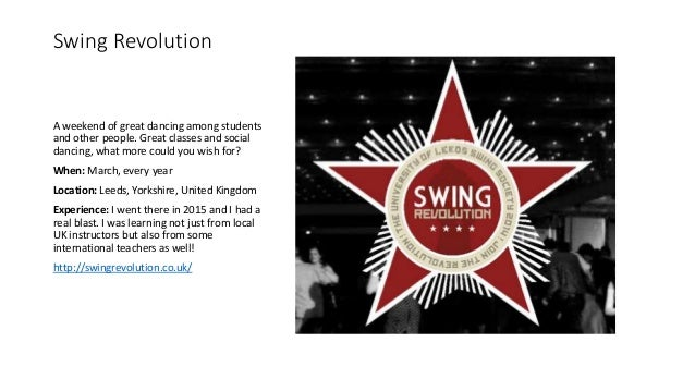 Swing Revolution A weekend of great dancing among students and other people. Great classes and social dancing, what more c...