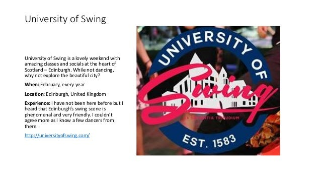University of Swing University of Swing is a lovely weekend with amazing classes and socials at the heart of Scotland – Ed...