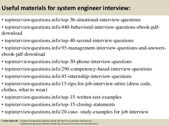 12 useful materials for system engineer interview - Case Interview Examples Case Interview Questions