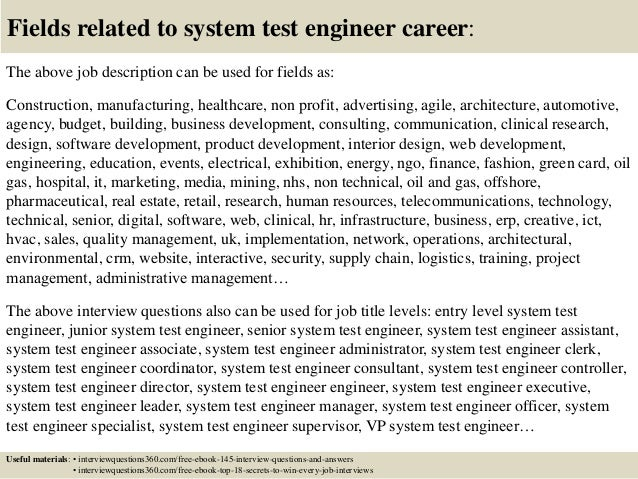 Top 10 System Test Engineer Interview Questions And Answers