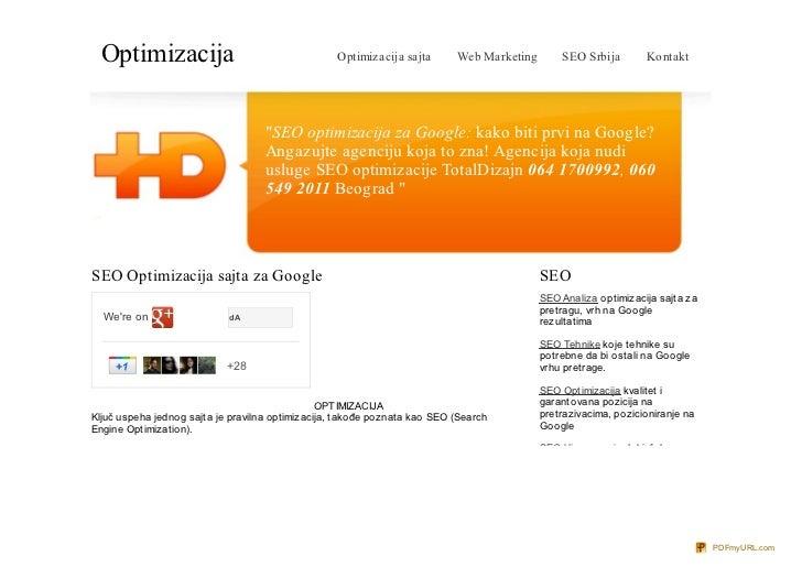 Optimizacija                                     Optimizacija sajta       Web Marketing       SEO Srbija        Kontakt   ...
